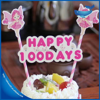 Custom Cartoon Star Heart Baby Birthday Cupcake Topper