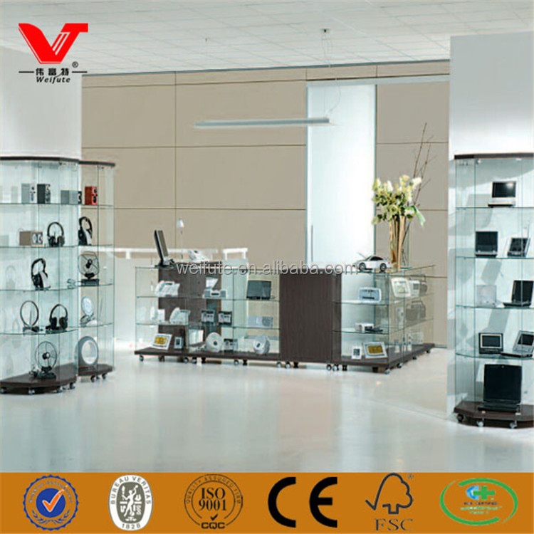 OEM cheap price glass display cabinets and showcases for earphone and computers