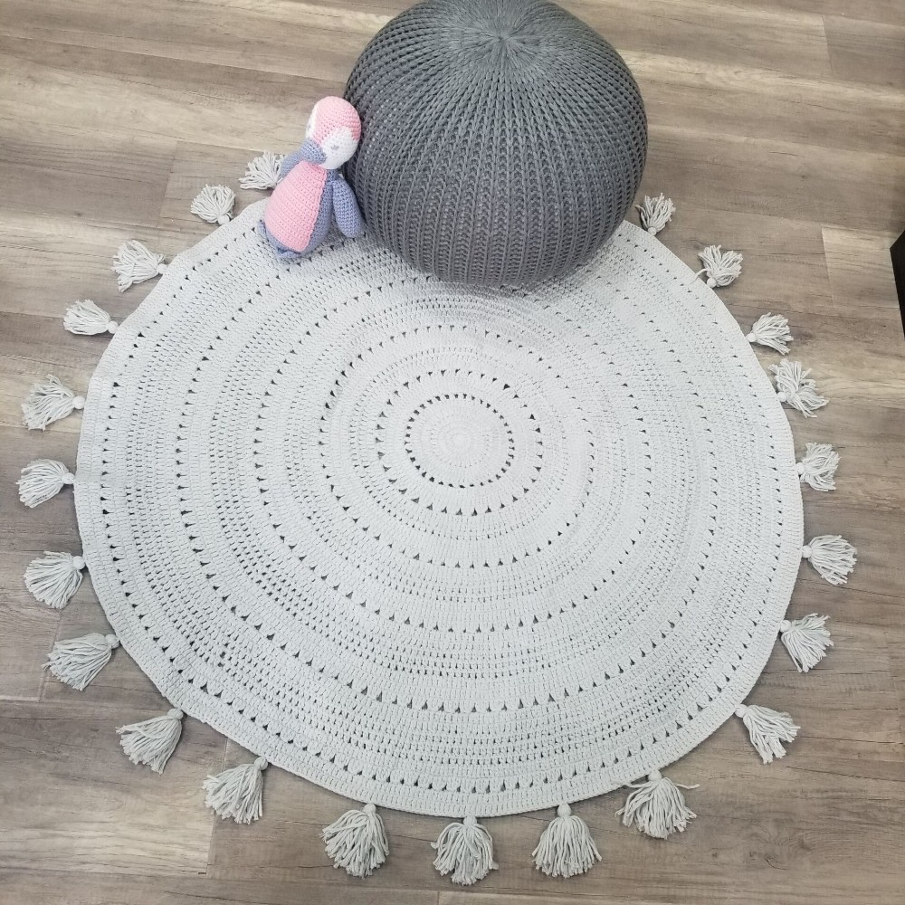 Round Blankets Hand Crochet Throw Rug