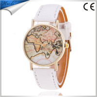 2016 High Quality Quartz Relogio Womens Watches man Retro World Map Design Leather Alloy Band Analog Ladies Wrist Watch LW019