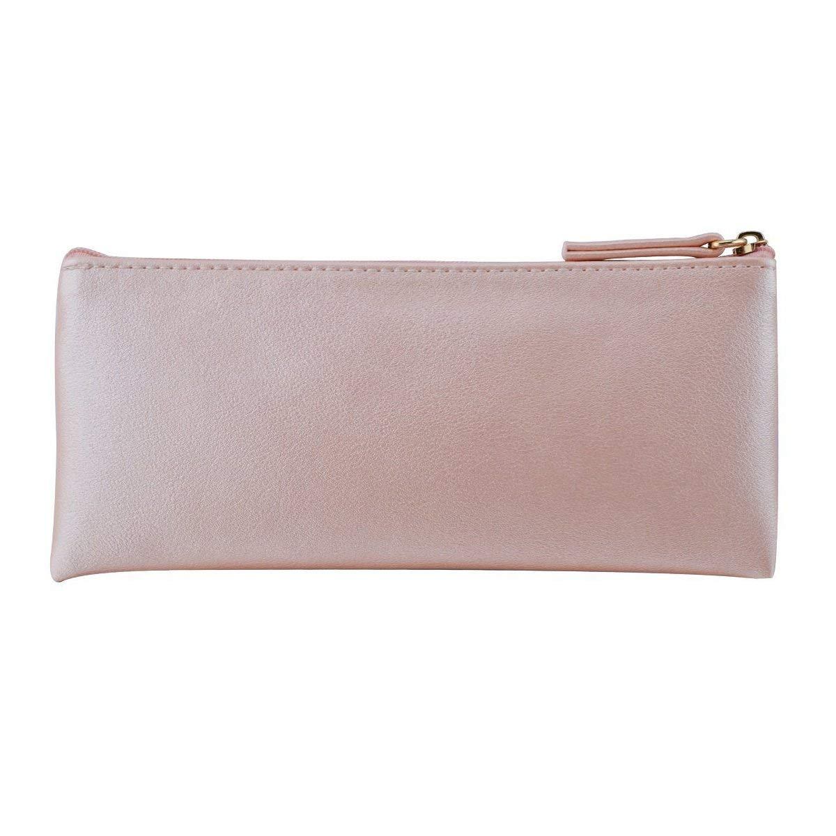 XYBAGS PU Leather Small Pencil Case Pen Bag with Zipper, PU Leather Makeup Pouch Makeup Case Cosmetic Pouch (Pink)