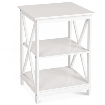 Factory Modern Design Living Room Cabinets End Table Wooden Side Table 3 Tiers White