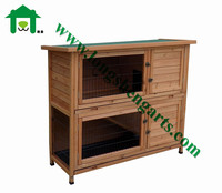 Double tray rabbit wooden house