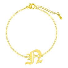QIAMNI нержавеющая сталь Алфавит шрифт буквы 26 A-Z браслет подарок на день рождения Старый Английский начальный капитал Y браслет(Китай)