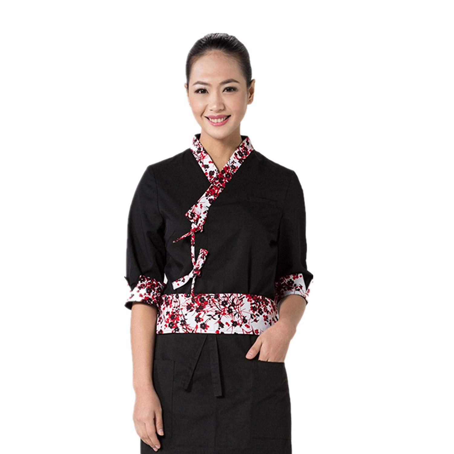 Japanese Sushi Chef Coat With Flower Pattern For Men And Women Restaurant Uniform Chef Jackets