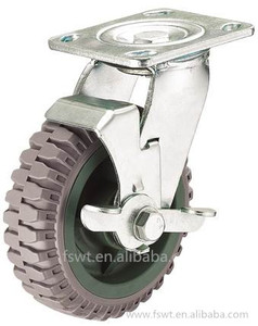 Wholesale Gray PU 6mm Rotate Plate Adjustable Heavy Duty Caster With Brake