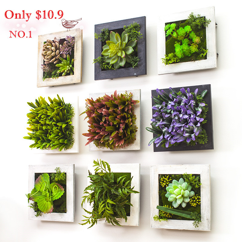 Artificial Flowers Home Decor: 2016 3D Creative Metope Succulent Plants Imitation Wood