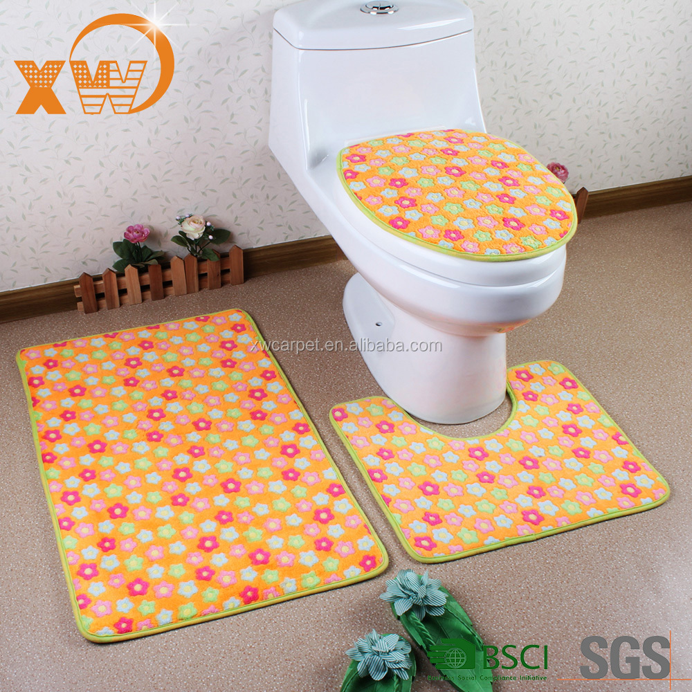 Xingwang Bathrooms accessories 3pcs coral velvet toliet mats wholesale