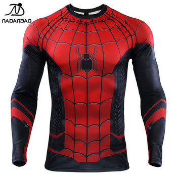 NADANBAO 2019 marvel hero spider man clothes avengers fitness quick-drying long sleeve tight tops sports gym shirts for couple