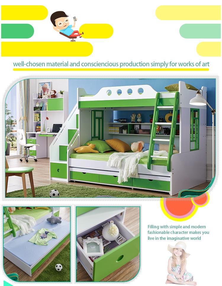 Wooden Dubai Kids Bunk Bed Bedroom Furniture With Desk ...