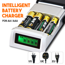2016 New Original C905W 4 Slots LCD Display Smart Battery Charger for AA / AAA NiCd NiMh Rechargeable Batteries US/UK/EU Plug