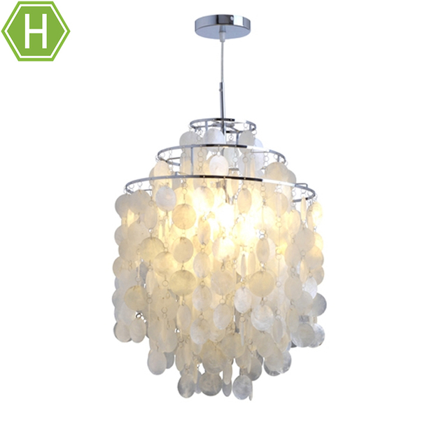 18 Inch Steel Material Silver White Shell Pendant Chandeliers Lights Lamp With 1 Light