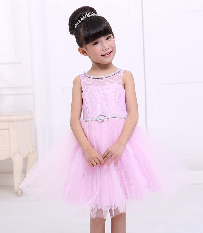New Summer Children Weeding Dresses Baby Formal Party Clothing Girls Lovely Solid Big Bow Sleeveless Ball Gown Princess Dress