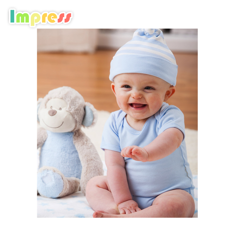 Summer short sleeve baby wear clothes plain blue baby bodysuit with hat set infant romper set