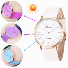 2017 popular new arrival big dial leather disocloration watches lady women wrist watch