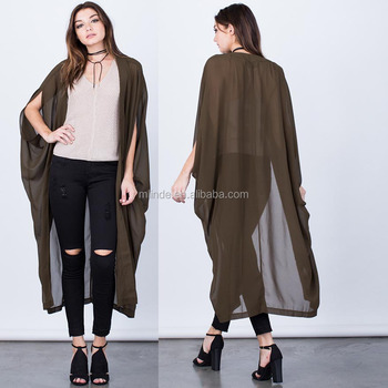 988fa3cf276 100% Polyester Sheer Lightweight Short Dolman Sleeves Open Front Chiffon  Women Long Solid Kimono Poncho