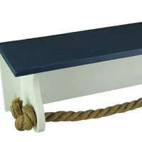 Wood Towel Bars Blue And White Wood And Rope Hanging Towel Holder Shelf 18 X 5.5 X 6 Inches Blue