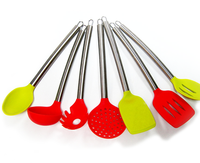 Food grade silicone kitchen tools,silicon cooking sets with stainless steel handle