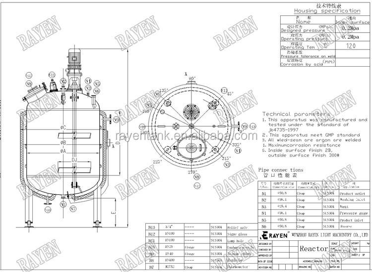 Stainless Steel Industrial Pressure Tank Chemical Reactor