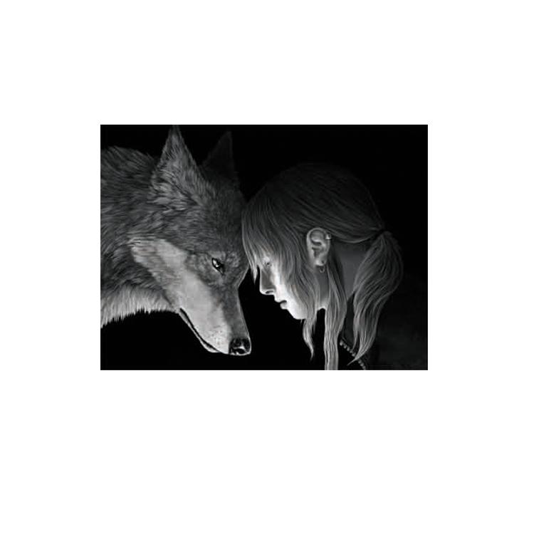 Schwarz Weiß 3d Anime Bild Der Wolf Mädchen - Buy 3d Anime Bild ...