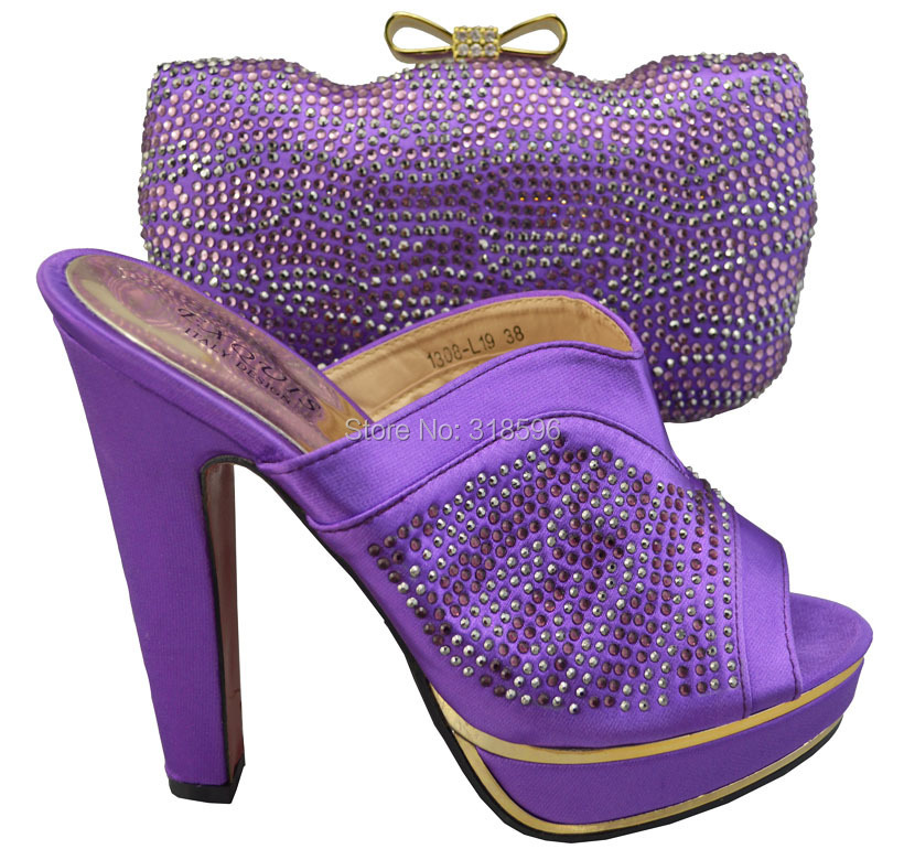 Free Shipping!Fashion woman italian matching shoes and bags set,party Italian shoe and bag set with rhinestone,