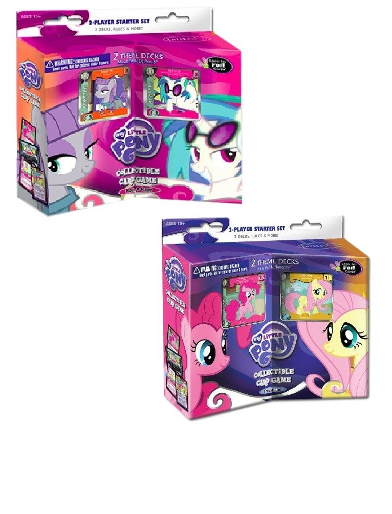 My Little Pony 2-Player Collectible Card Game Starter Sets: MLP CCG: Premiere and Rock and Rave Sets, Featuring Pinkie Pie, Fluttershy, Maud Pie and DJ Pon