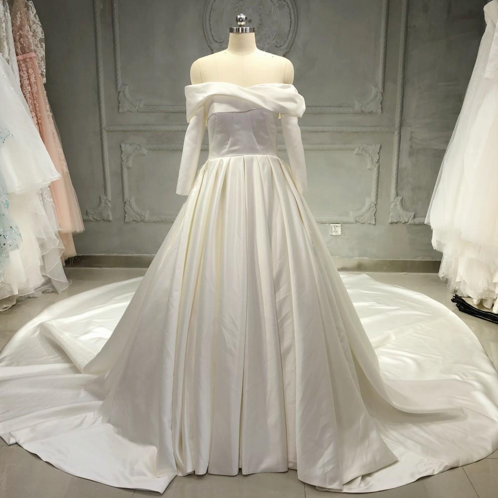 Asa 1014 A Line Long Train Off Shoulder High Quality Soft Satin Long Sleeve Wedding Dress Bridal Gown Buy Wedding Dress Long Sleeve Wedding Dress Wedding Dress Bridal Gown Product On Alibaba Com