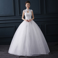 Z92457A New Fashion Lace Weeding Dress Sexy Sleeveless Wedding Dress Floor-Length Wedding Dress