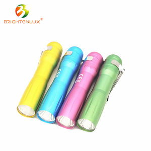 Manufacturer Supply AA battery Used Colorful Pocket Metal Material logo projection flashlight