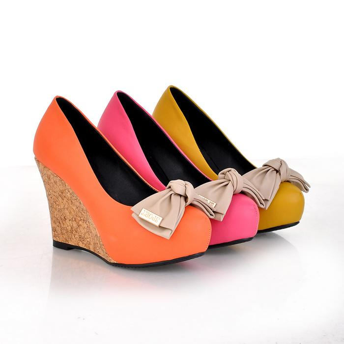 free shipping hot sales,2013 wedges bow ultra high heels single shoes, platform comfortable shoes,drop shipping