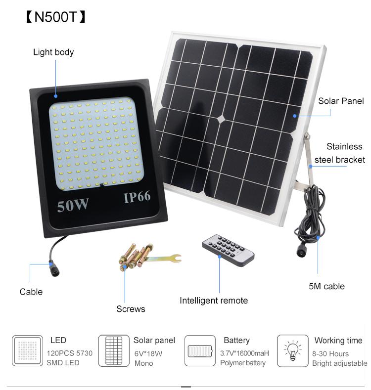 Energy saving outdoor solar floodlight led IP65 50w solar power led flood light