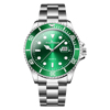 Classic men's fashion green dial water ghost quartz stainless steel chain wrist watch