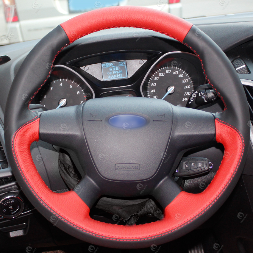 Best Genuine Real Leather Steering Wheel Cover For Ford Focus 2 3 Kuga Escape Ecosport Mondeo Mk3 Mk4 Fiesta Edge F 150 Buy Leather Steering Wheel