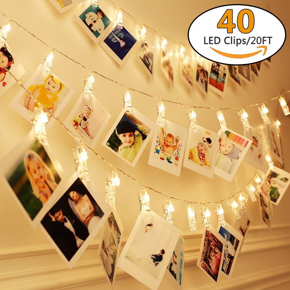Yeeteching 20 ft USB Powered LED Photo Clip String Lights(Warm White) - 40 Photo Clips for Indoor/Outdoor Decorate - Perfect for Hanging Pictures, Notes, Artwork