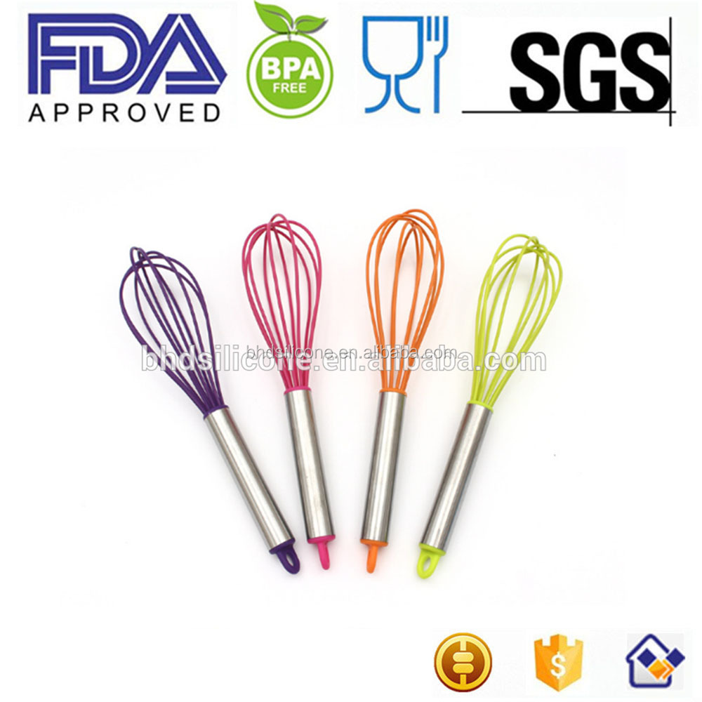 FDA Stainless Steel Silicone kitchen egg beater mixing whisk
