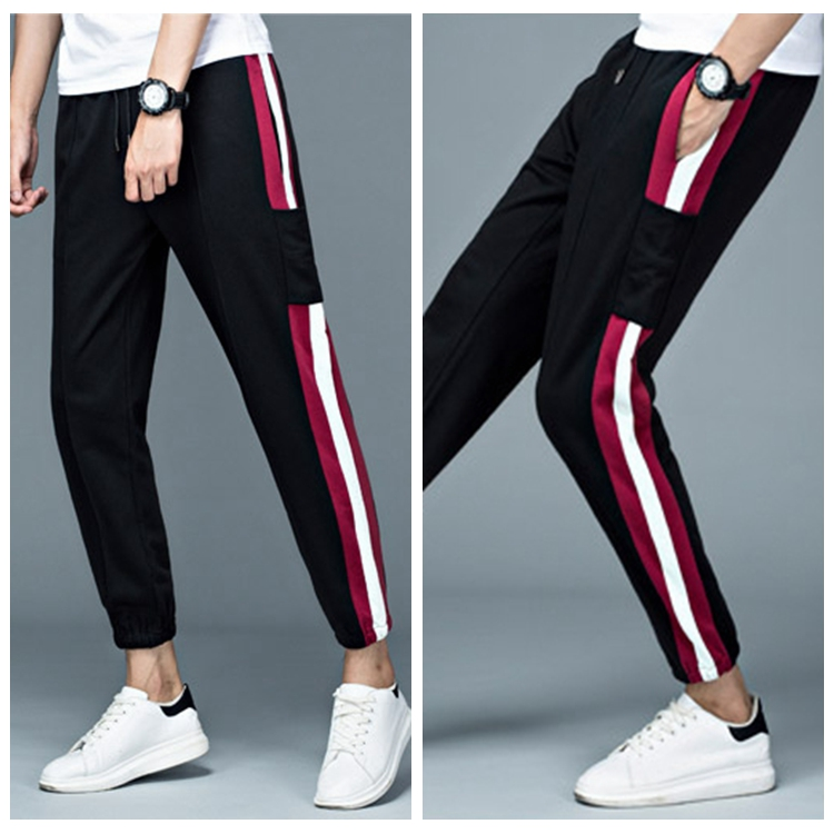 Blank Activewear Mens Elastic Sports Gym Track Ninth Pants With Side Stripe