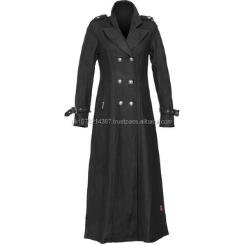 Lana Nero Le 2015 Per Stile Lungo Militare Gotico Donne Cappotto Di wPdqdBt