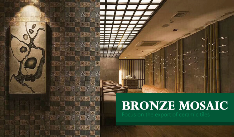 Luxury hotel kitchen interior decoration copper Metal black Gold bronze metal mosaic Luxury production bronze metal tile mosaic
