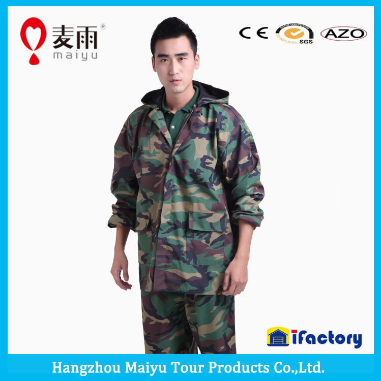 OEM factory military army rain suit raincoat army gear camouflage suit waterproof breathable cheap rain suit