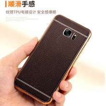 Silicone plating Phnom Penh embossed imitation leather printing case for Samsung S6 mobile phone TPU case