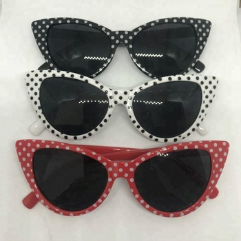 f250ff135429 Cat Eye Polka Dots Custom Sunglasses Logo Free Sample Plastic Sun Glasses  Sunglasses