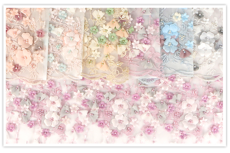 Hot sale soft customized 3d applique pearl beaded embroidery wholesale lace fabric