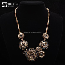 BLN0385 jewelry wholesale round crystal antique brass vintage choker necklace
