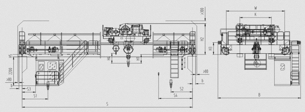 Overhead Cranes Dimensions : Reasonable price ton qd model bridge overhead crane