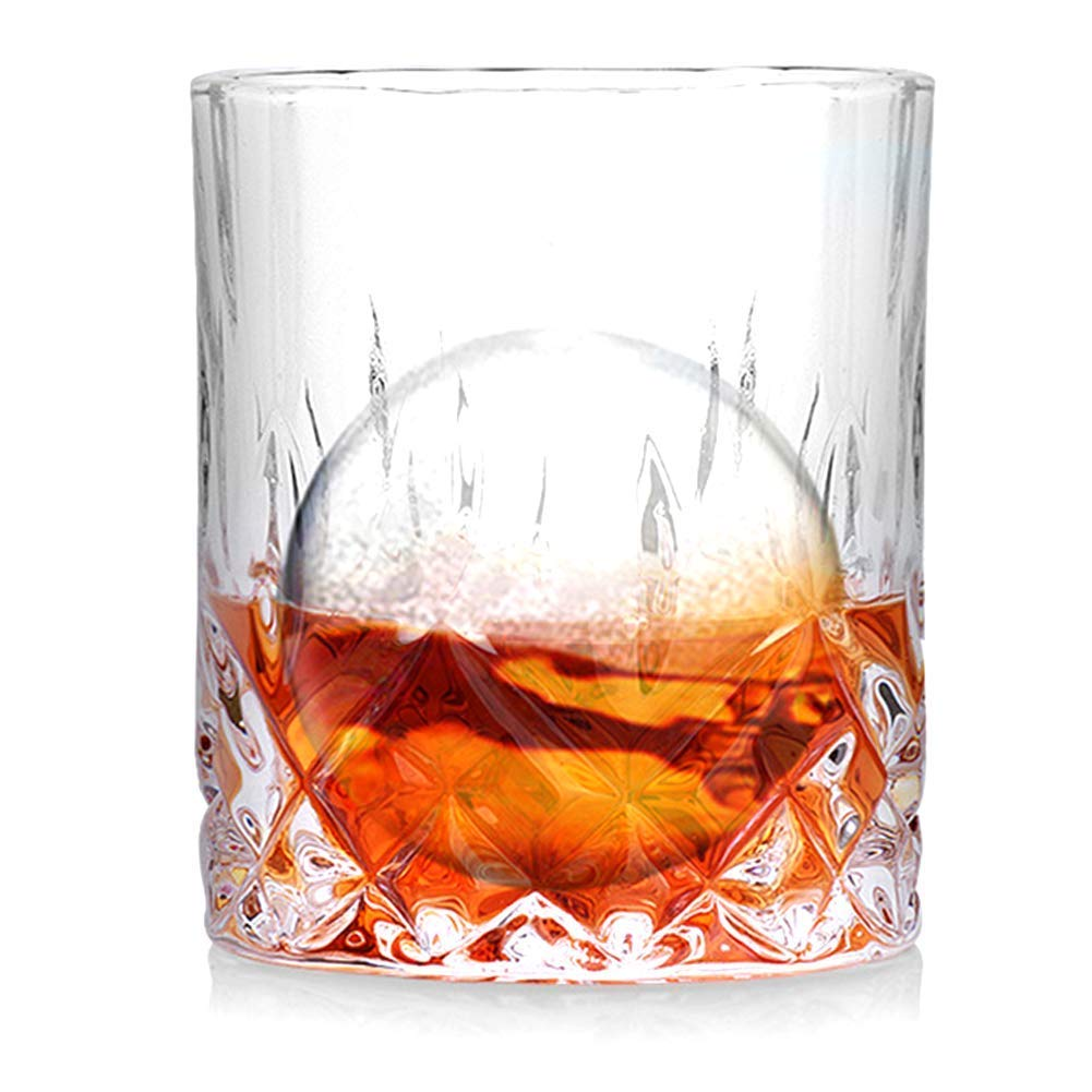 Straight Pattern Whiskey Glasses Set of 2- Premium 100% Lead Free 7 oz Crystal Lowball Old Fashioned Glass, Mixing Drink Cocktail Glasses