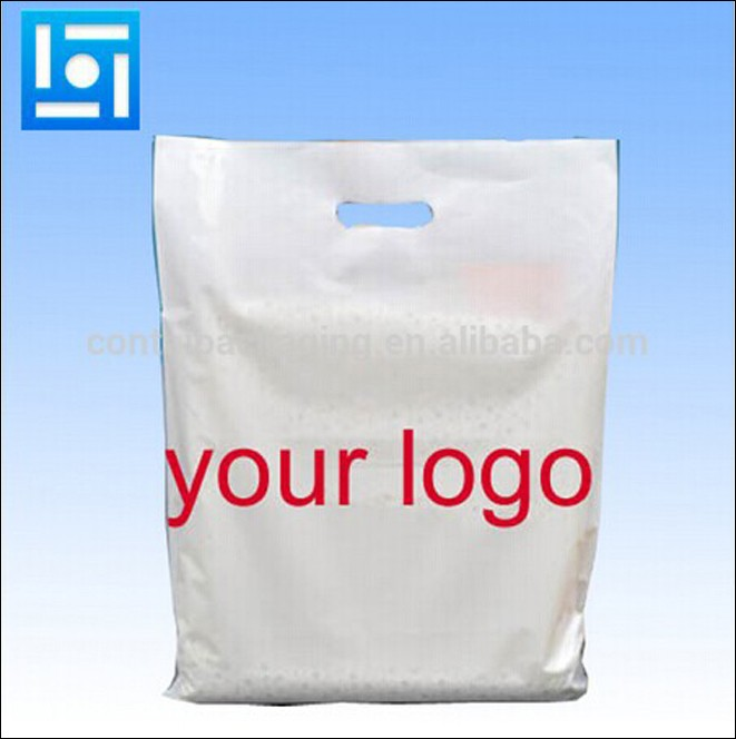 China Whole Patch Handle Pe Cut Large Clear Plastic Bags With Your Own Logo