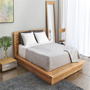 Simple solid wood modern queen king size single bed designs