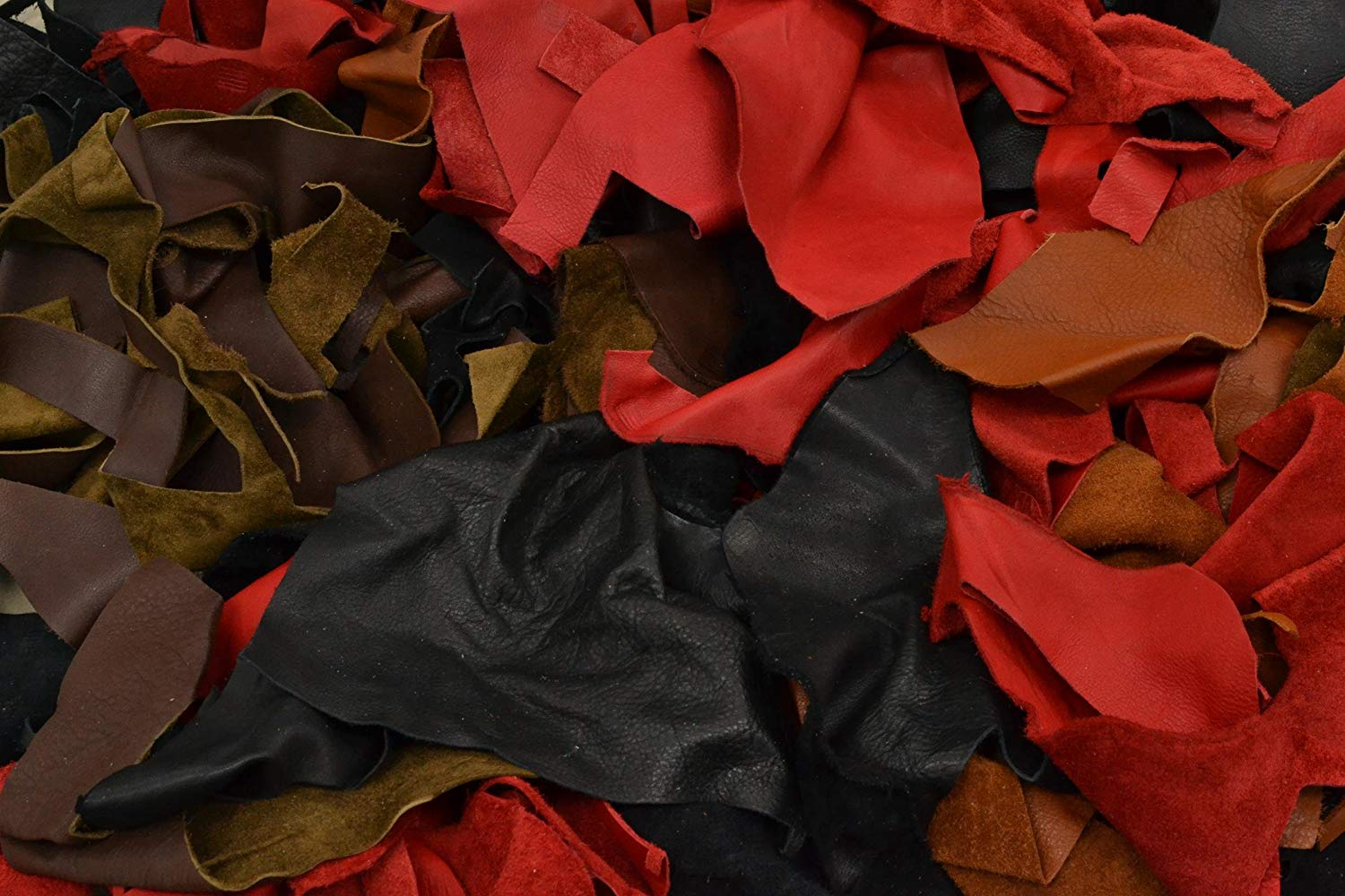 Cow Leather Scrap Black/Browns/Red Deer Tanned 3-4 oz Hide Pieces 1 Pound