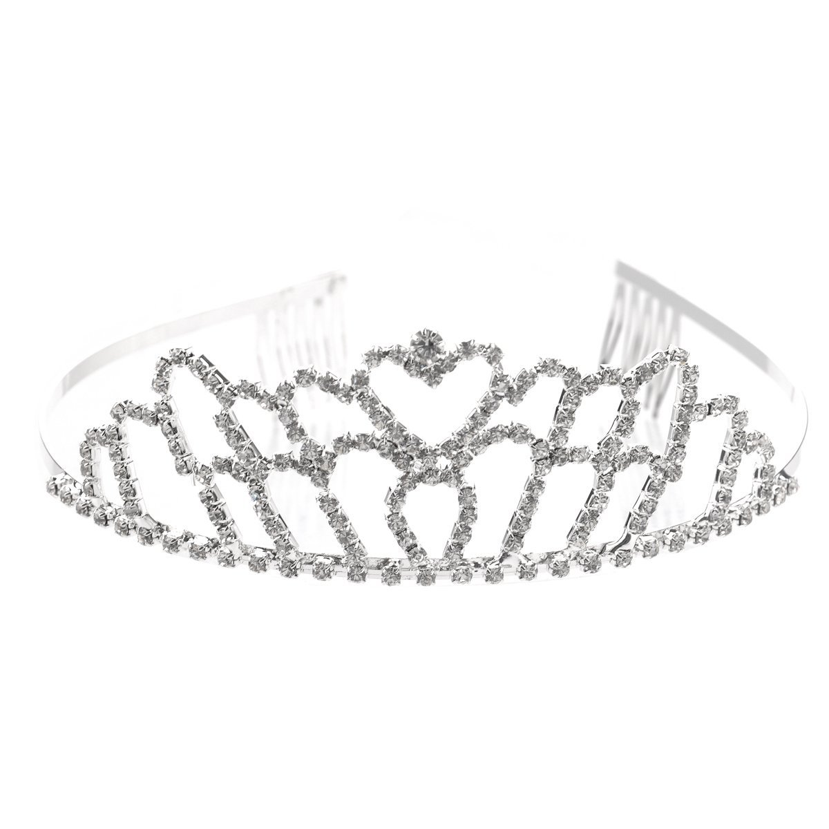 PIXNOR Wedding Bridal Crown Headband Prom Tiara Shining Crystal Rhinestones Hair Band (Silver)