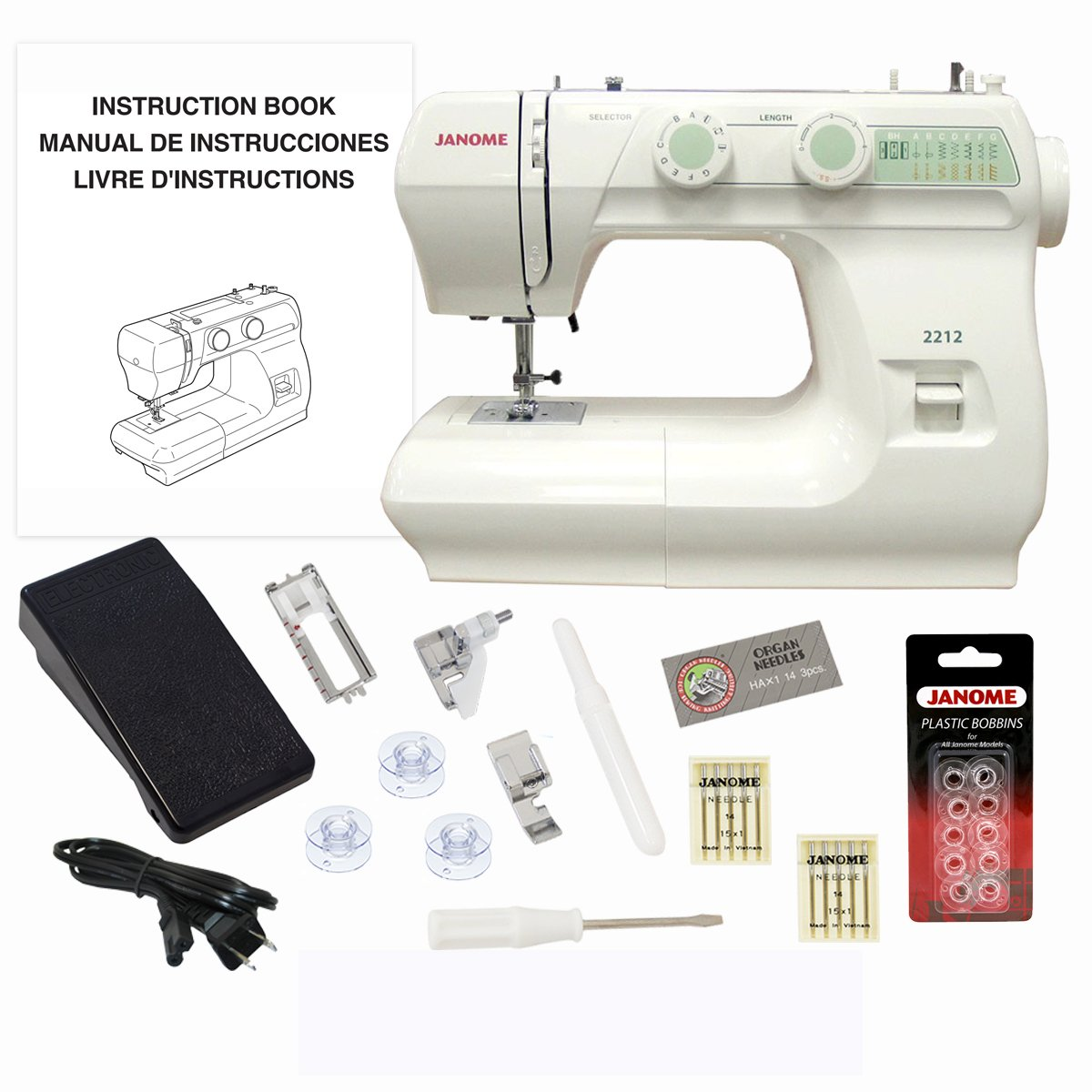 Get Quotations · Janome 2212 Sewing Machine Includes Exclusive Bonus Bundle